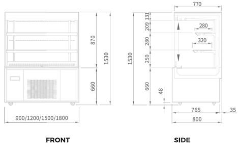 tu mat trung bay banh kem modelux 670 lit msoa-1800  hinh 2