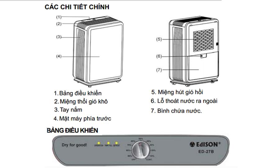may hut am edison ed-27b(27lit/ngay) hinh 3