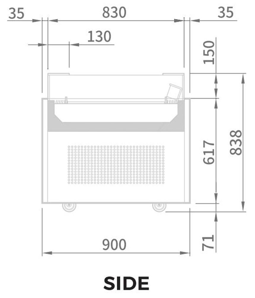 tu mat trung bay banh kem modelux 182 lit msos-1500 hinh 1
