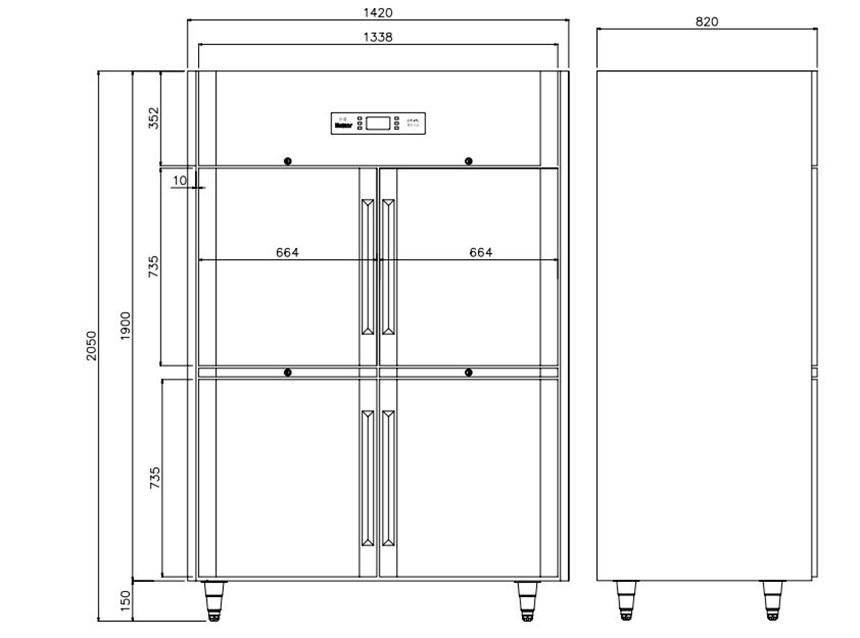 tu mat 4 canh inox kolner k2n-ec (lam lanh quat gio) hinh 0